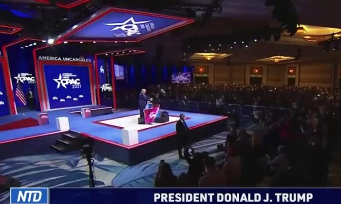 도널드 트럼프 전 대통령이 지난 2월 28일 보수정치행동대회(CPAC)에서 연설하고 있다. | NTD 방송 캡처