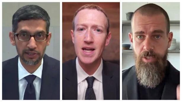 선다 피차이 구글 최고경영자(CEO), 마크 저커버그 페이스북  CEO, 잭 도시 트위터 CEO(왼쪽부터)   NTD