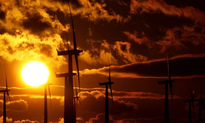 2010년 1월 29일 스코틀랜드 블랙로에 있는 한 풍력발전소