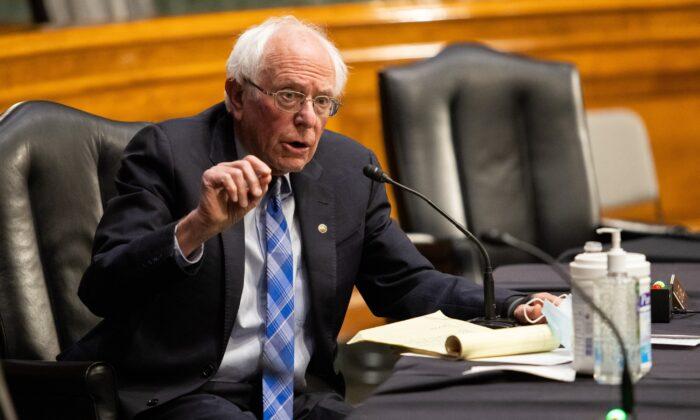 무소속 버니 샌더스 미국 상원의원이 지난 1월 워싱턴 국회의사당에서 열린 청문회에서 연설하고 있다. | Graeme Jennings/Pool/Getty Images