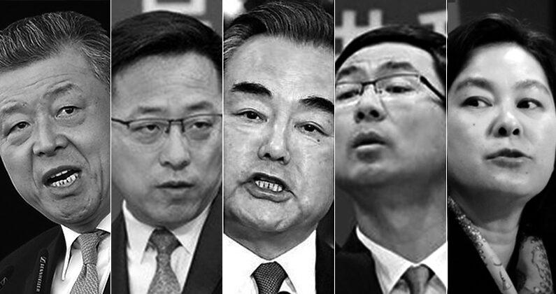 중국공산당의 '늑대전사' 외교관들이 미·일의 대만 문제 언급에도 이례적으로 침묵하고 있다. 왼쪽부터 주영국 중국대사 류샤오밍, 중국 외교부 대변인 자오리젠, 중국 외교부장 왕이, 중국 외교부 대변인 겅솽, 화춘잉   AP,연합=에포크타임스