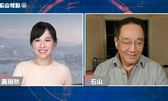레이첼 웡(왼쪽)이 2021년 3월 광둥어 토크쇼 '스산의 세상보기(Shi Shan's Outlook)'를 진행하고 있다. | 유튜브 화면 캡처