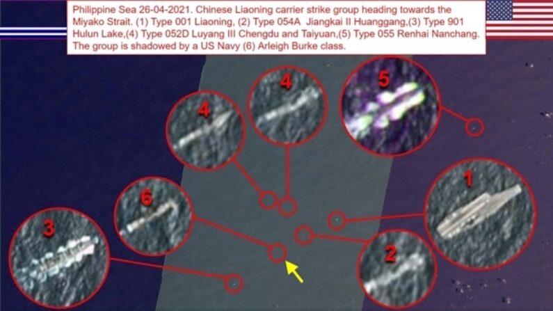 중국 항모전단 진형 깨고 들어간 미국 구축함 1번이 중국 해군 항공모함 랴오닝함이며 2∼5번은 중국 항모전단의 호위함들. 6번이 미 해군 구축함. | 트위터 계정 OSINT-1