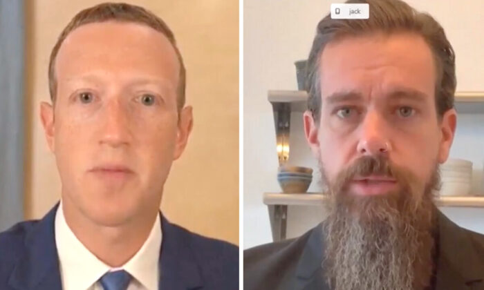 마크 저커버그 페이스북 CEO(왼)와 잭 도시 트위터 CEO(오)가 2020년 11월 17일 워싱턴 상원 법사위원회에서 증언하고 있다. | 화면 캡처