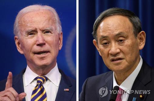 조 바이든 미국 대통령과 스가 요시히데 일본 총리 | 로이터·AP=연합뉴스