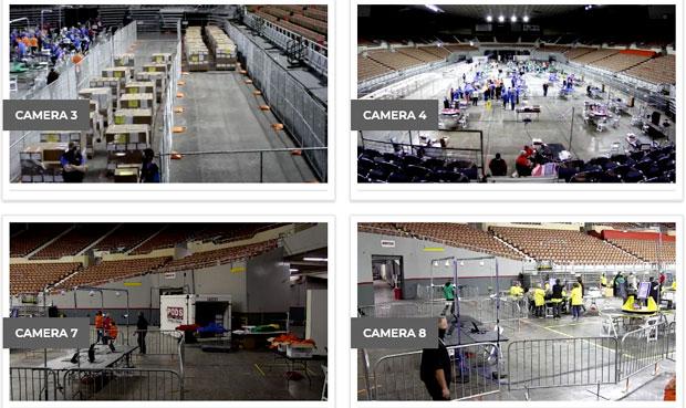 미국 애리조나주 마리코파 카운티의 2020 대선 투표 재검표장 실시간 중계화면 | 화면 캡처
