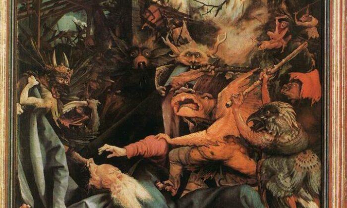 안토니우스를 포위하고 있는 악령들. 악령들이 오른쪽에서는 막대기를 들고 공격해 오고, 왼쪽에서는 안토니우스의 망토와 머리카락을 잡아당기고 있다. 마티아스 그뤼네발드(Mathias Grünewald)의 '성 안토니우스의 유혹(The Temptation of St. Anthony)' 부분.   Public Domain