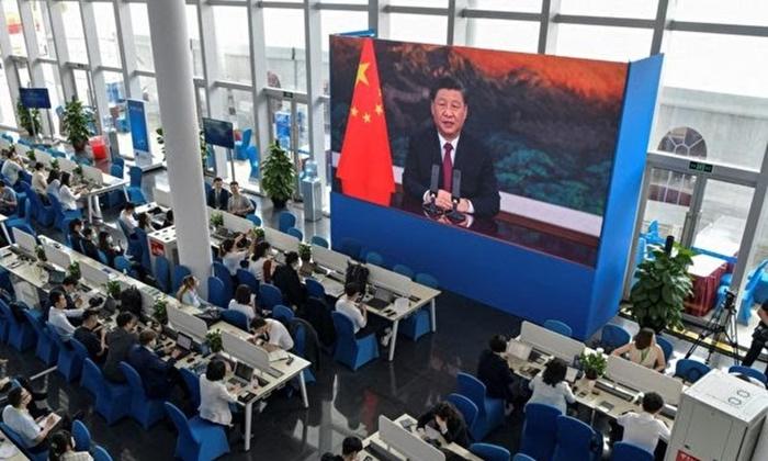 시진핑 중국 공산당 총서기가 지난 20일 보아오포럼 개막식에서 화상으로 연설하고 있다. | STR/AFP via Getty Images 연합