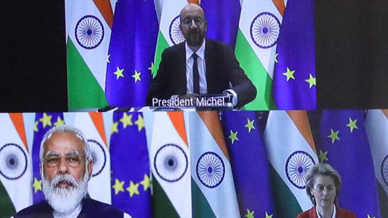 지난해 7월 유럽연합(EU) 정상회의 상임의장, EU 집행위원장과 나렌드라 모디 인도 총리가 화상회의를 하고 있는 모습. | 로이터=연합뉴스