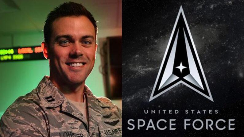 매튜 로마이어 미 우주군 중령(왼쪽)과 미 우주군 휘장 | 미 우주군 제공