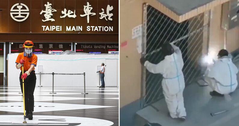 [좌] 18일(현지시간) 텅 빈 타이베이역 로비에서 한 여성이 마스크와 얼굴 가리개를 착용한 채 청소를 하고 있다. [우] 중국 랴오닝성 잉커우시의 한 아파트 현관문. 방역 요원들이 용접으로 봉쇄하고 있다. | 연합뉴; 트위터 캡처