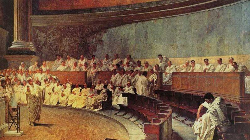 로마 원로원에서 연설하는 키케로. 체사레 마카리 1888년 작품 '카탈리나를 고발하는 키키케로'   위키피디아 커먼스