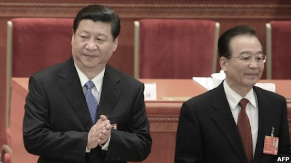 시진핑(왼쪽) 중공 총서기와 원자바오 전 중공 국무원 총리 | AFP 연합