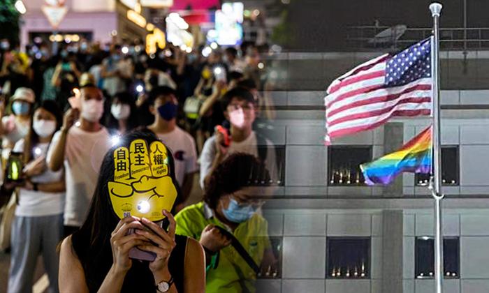 [좌] 4일 홍콩 코즈웨이 베이에서 휴대전화 조명 등으로 불을 밝힌 시민들 [우] 홍콩의 미 총영사관 청사 창문마다 켜진 촛불 | AFP/연합; 홍콩 미 총영사관 페이스북