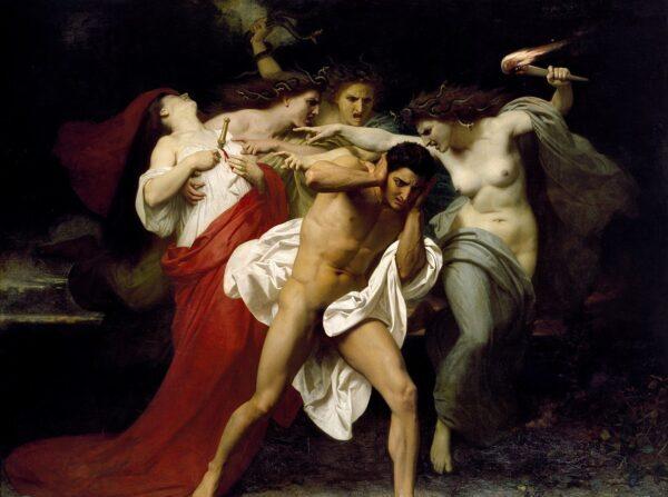 윌리엄-아돌프 부게로(William-Adolphe Bouguereau)의 '퓨리스에게 쫓기는 오레스테스(Orestes Pursued by the Furies)' 1862년, 크라이슬러 박물관 | Public Domain