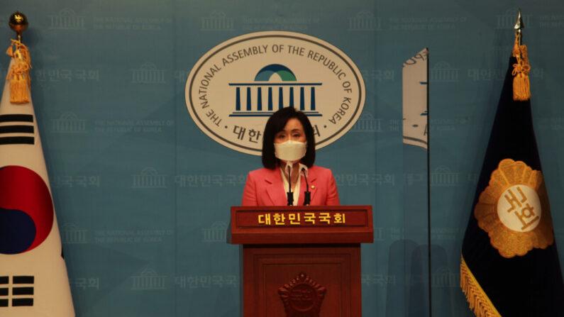 4일 오전 전주혜 국민의 힘 원내대변이 공군 성추행 피해 부사관 사망 사건과 관련해 논평하는 모습 | 전주혜 의원실 제공