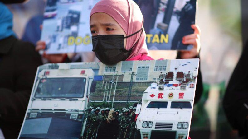 신장 위구르족 인권탄압에 항의하는 시위대 | EPA/연합뉴스
