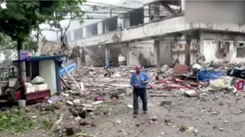 중국 후베이성 스옌시의 가스폭발 사고 현장 | 화면 캡처