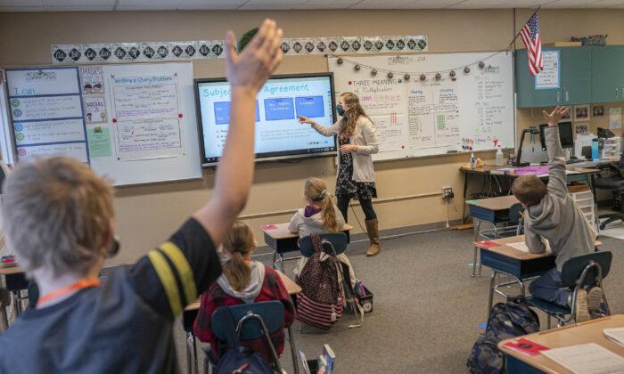 미국 워싱턴주의 한 초등학교 수업 모습.   Nathan Howard/Getty Images