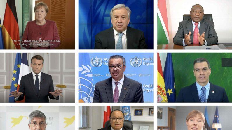 앙겔라 메르켈 독일 총리(왼쪽부터)와 안토니우 구테흐스 유엔 사무총장, 시릴 라마포사 남아프리카공화국 대통령, 에마뉘엘 마크롱 프랑스 대통령, 테워드로스 아드하놈 거브러여수스 세계보건기구(WHO) 사무총장, 페드로 산체스 스페인 총리, 2014년 노벨평화상 수상자인 카일라시 사티아르티, 포히바 투이운투아 통가 총리, 케르스티 칼률라이드 에스토니아 대통령이 24일(현지시간) 화상으로 열린 세계보건총회(WHA) 개막식에서 연설하고 있다. | 연합뉴스