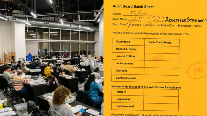 [좌] 미국 조지아주의 개표소 [우] 재검표 결과를 담은 문서의 일부, 중복 개표된 투표지 100매 모두 조 바이든 표로 집계됐다.   로이터/연합; VoterGA