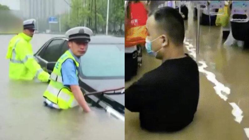폭우로 일어난 홍수에 침수된 중국 정저우 | 웨이보