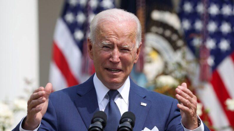 조 바이든 미국 대통령이 26일(현지시각) 백악관 로즈가든에서 연설하고 있다. / Evelyn Hockstein/Reuters/연합