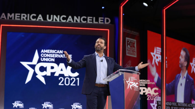 지난 2월 2021년 보수정치행동회의(CPAC) 제1차 행사에서 연설하는 도널드 트럼프 주니어 | Joe Raedle/Getty Images