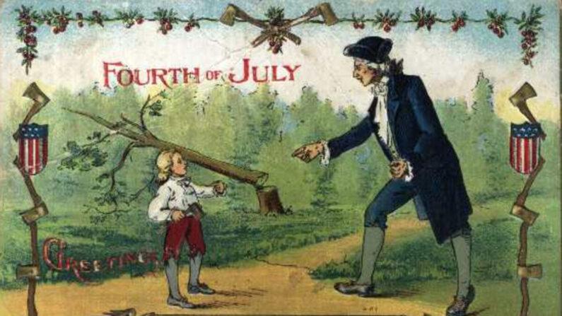 미국 초대 대통령인 조지 워싱턴이 어린 시절, 아버지가 아끼던 나무를 도끼로 찍었다가 이를 아버지에게 솔직하게 고백했다는 일화를 그린 그림 | 자료 사진