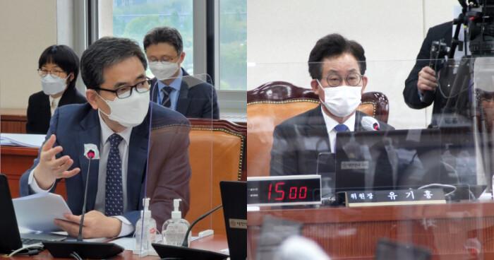 회의에서 발언하는 곽상도 의원(왼쪽)과 유기홍 의원 | 곽상도, 유기홍 의원실 제공