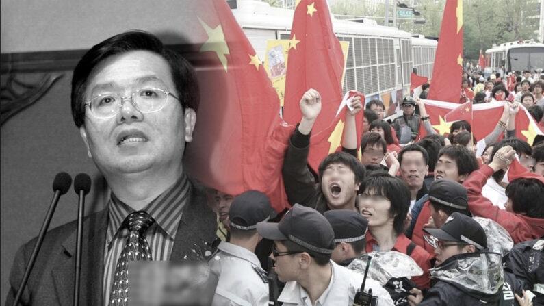링쿠푸이 전 주한 중국대사와 지난 2008년 4월 베이징올림픽 성화 서울 봉송 당시 난동을 부린 중국인 유학생들. 중국 대사관에서 동원했다는 논란이 일었다.    연합뉴스