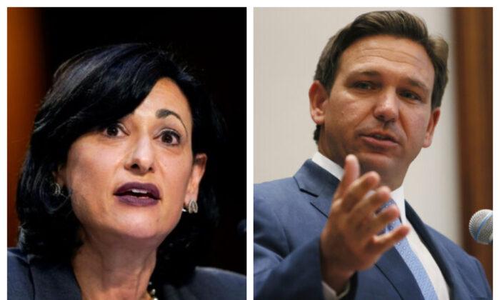 로셸 월렌스키 미 질병통제예방센터(CDC) 국장(좌), 론 드산티스 플로리다 주지사(우)   Susan Walsh/Pool via Reuters/ 연합   Joe Raedle/Getty Images