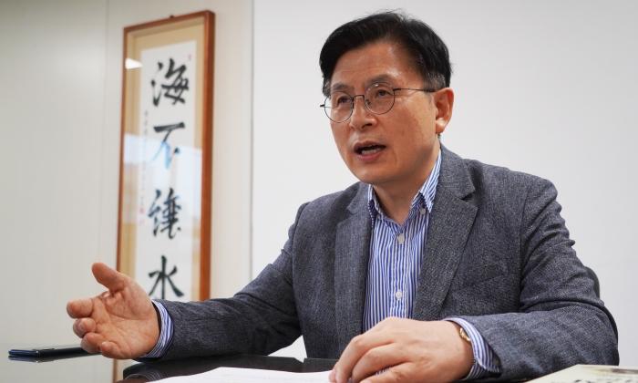 황교안 전 미래통합당 대표가 4일 서울 여의도 자신의 대선 캠프에서 에포크타임스와 인터뷰를 하고 있다. | 이유정/에포크타임스