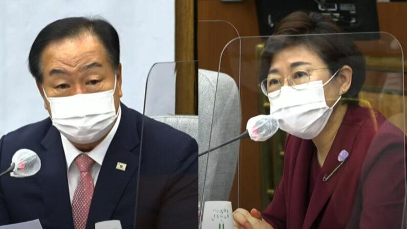 13일 국민의힘 원내대책회의에서 발언하는 한기호 의원(좌), 김정재 의원(우) | 오른소리 캡처