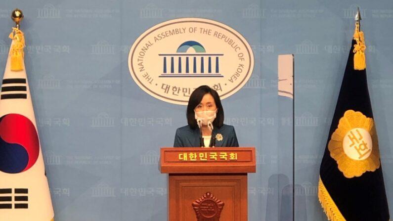 국민의힘 전주혜 원내대변인 발언 모습ㅣ전주혜 의원실 제공