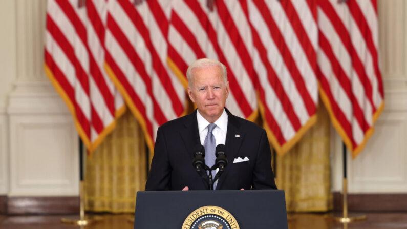 조 바이든 대통령이 16일(현지 시각) 대국민 연설을 갖고 아프가니스탄 사태에 관한 공식 입장을 발표했다. | Anna Moneymaker/Getty Images