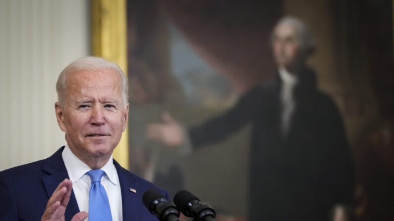조 바이든 미국 대통령이 23일(현지 시각) 워싱턴DC 백악관 이스트룸에서 발언하고 있다. | Drew Angerer/Getty Images
