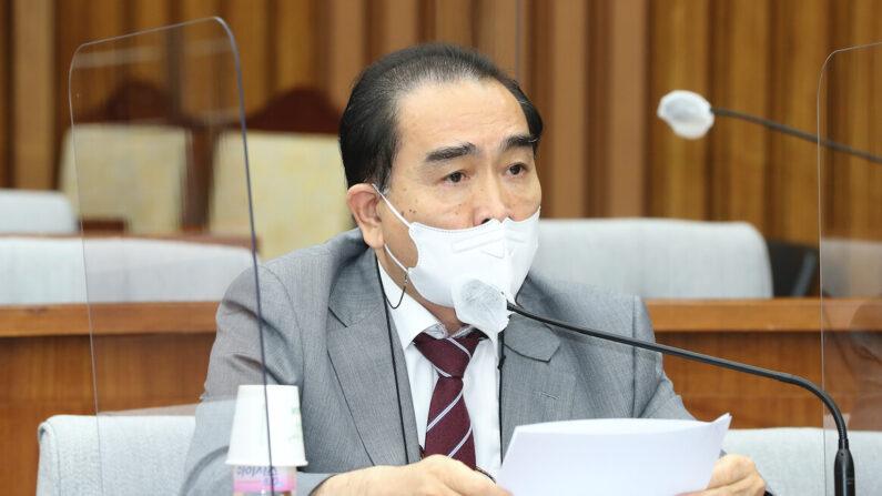 10일 국민의힘 원내대책회의에서 발언하는 태영호 의원   국민의힘 제공