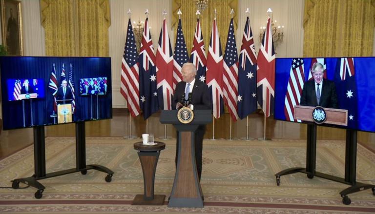 오커스 발족 화상 기자회견하는 3국 정상 | 미 백악관
