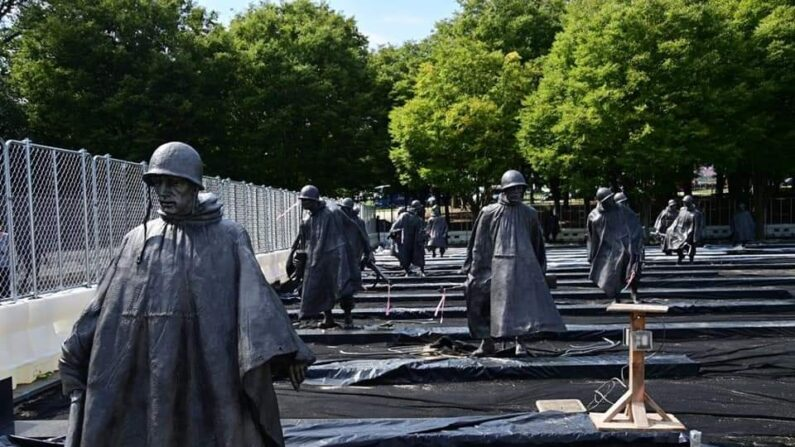 미국 워싱턴에 위치함 '한국전 참전용사 기념비' 모습ㅣ더불어민주당 제공
