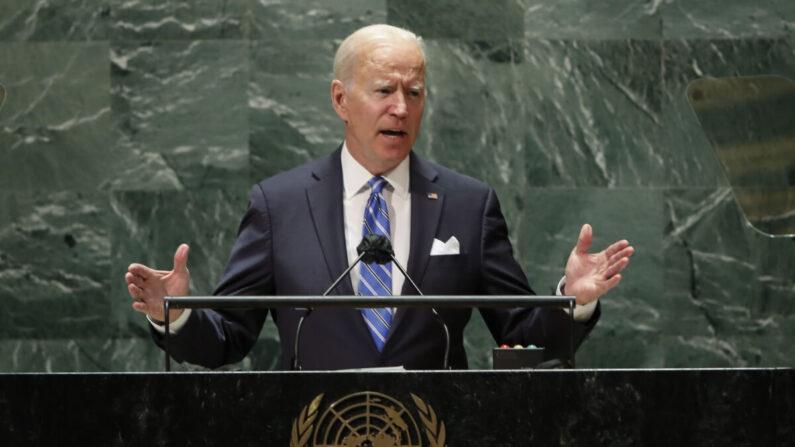 조 바이든 미국 대통령이 21일 미국 뉴욕 유엔본부에서 개최된 유엔 총회에서 연설하고 있다. 바이든의 대통령 취임 후 유엔 총회 연설은 이번이 처음이다. | Eduardo Munoz/Pool Photo via AP/연합