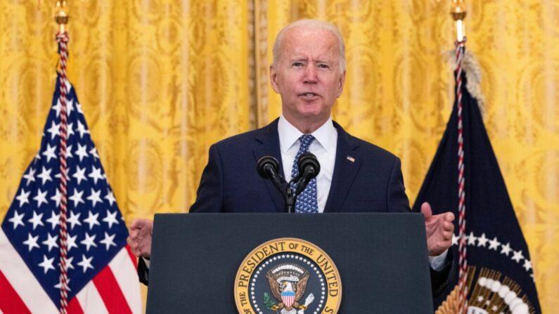 조 바이든 미국 대통령이 백악관 이스트룸에서 노동자들의 권익과 노조에 관해 연설하고 있다. 2021.9.8 | Kevin Dietsch/Getty Images