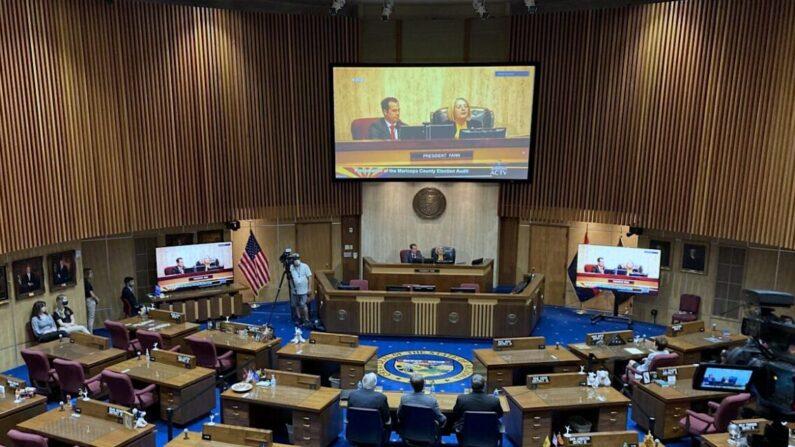 애리조나 주의회 상원에서 열린 마리코파 카운티 선거 감사 청문회. 2021.9.24 | 앨런 스타인/에포크타임스