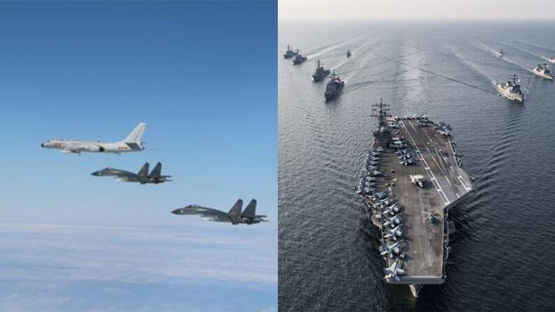 중국 인민해방군 H-6 폭격기와 J-11 전투기(좌), 미국 로널드레이건호 항모전단(우) | 신화/연합; 미 해군 제공
