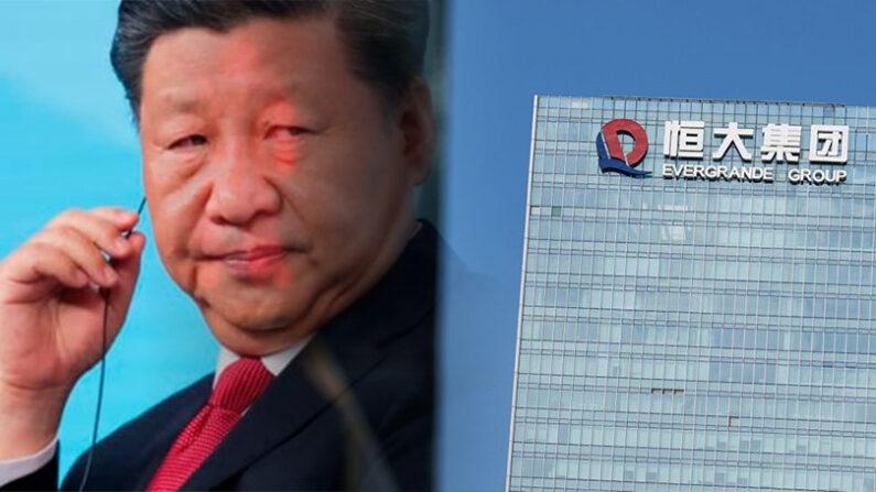 시진핑 중국 공산당 총서기(좌), 중국 광둥성의 헝다그룹 본사 건물(우) | 신화; 로이터/연합