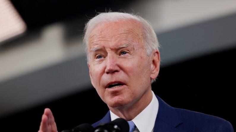조 바이든 미국 대통령이 워싱턴 백악관에서 연설하고 있다. 2021.10.8   Evelyn Hockstein/Reuters/연합