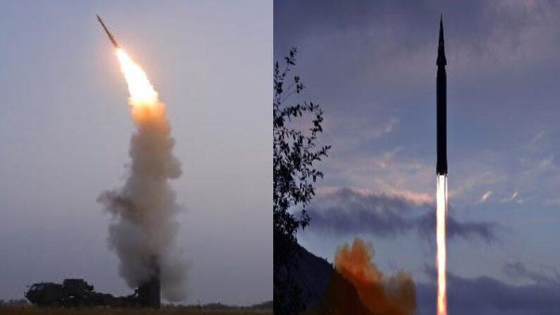 북한이 지난 30일 시험 발사한 '신형 반항공 미사일'(좌), 지난 28일 오전 자강도 룡림군 도양리에서 발사한 '극초음속 미사일인 화성-8형'(우) 모습ㅣ 조선중앙통신 캡처