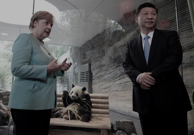 독일 앙겔라 메르켈 총리와 중국 시진핑 국가주석이 화상으로 정상회담을 가졌다. 사진은 2017년 독일을 방문한 시진핑 주석과 메르켈 총리가 베를린 동물원의 판다 우리 앞에서 대화를 나누는 장면. 해당 판다는 중국이 독일에 선물했다. | AFP/연합