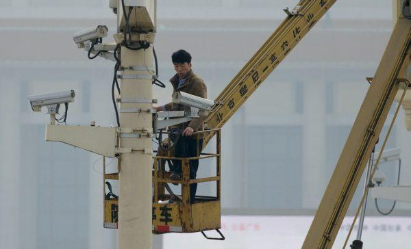 man checks security cameras