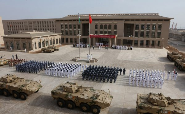 Chinese People's Liberation Army personnel attending the opening ceremony of China's new military base in Djibouti on Aug. 1, 2017. (STR/AFP/Getty Images)